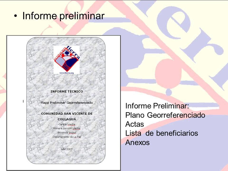 Informe preliminar Informe Preliminar: Plano Georreferenciado Actas