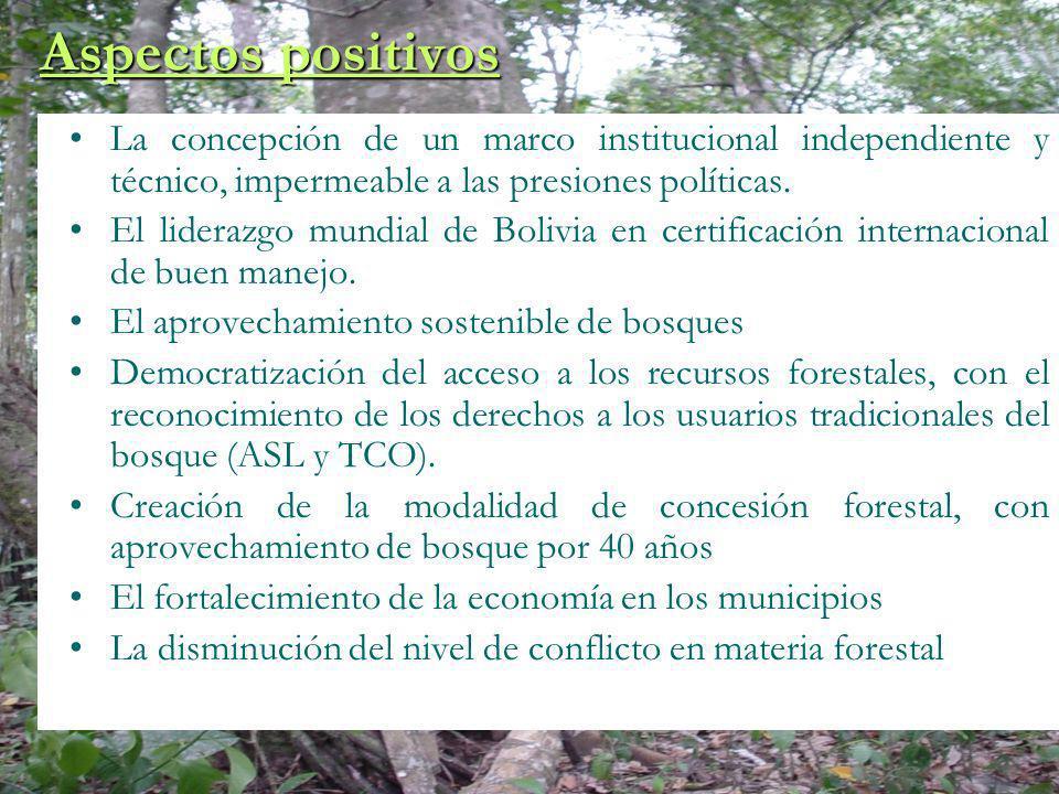 Aspectos positivos La concepción de un marco institucional independiente y técnico, impermeable a las presiones políticas.