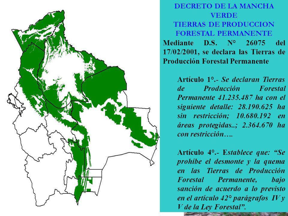 DECRETO DE LA MANCHA VERDE TIERRAS DE PRODUCCION FORESTAL PERMANENTE