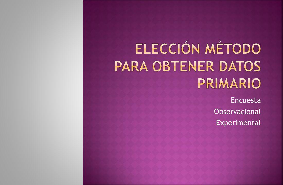 Elección método para obtener datos primario