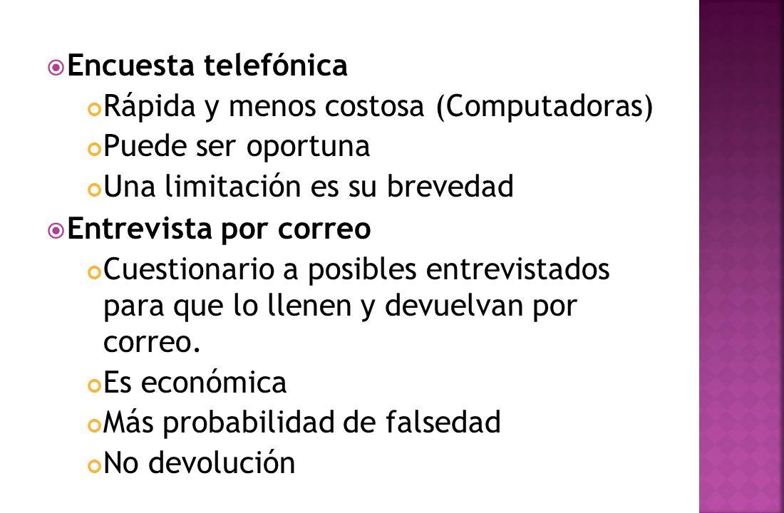 Encuesta telefónica Rápida y menos costosa (Computadoras) Puede ser oportuna. Una limitación es su brevedad.