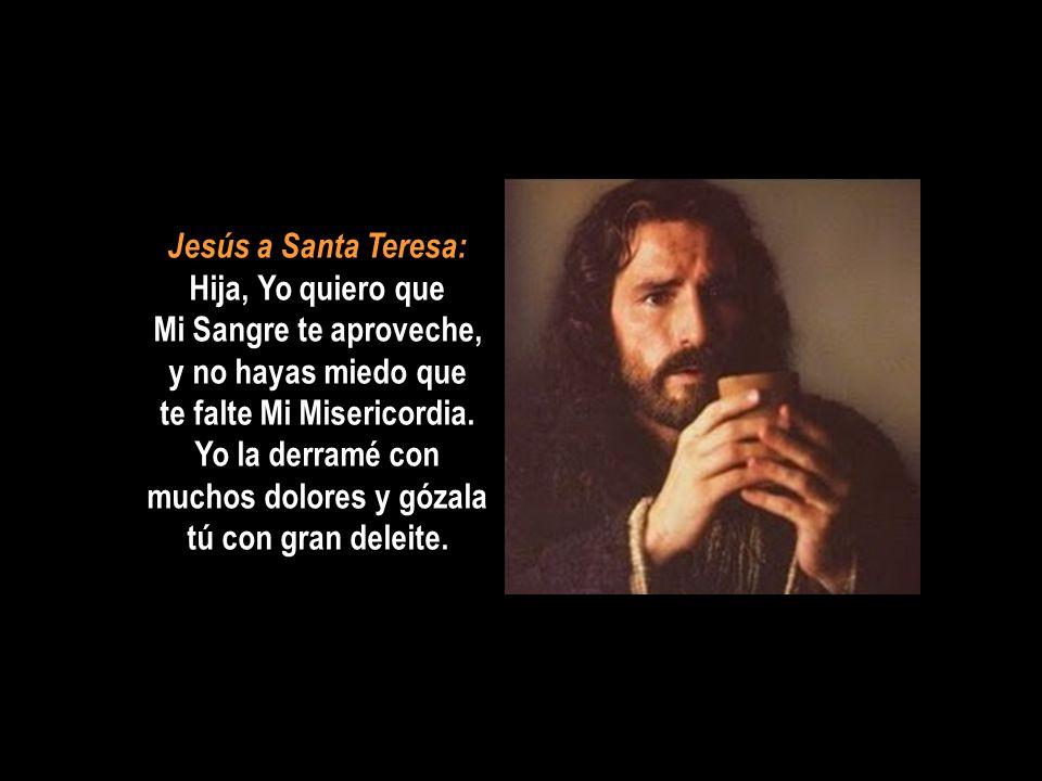 Jesús a Santa Teresa: Hija, Yo quiero que Mi Sangre te aproveche, y no hayas miedo que te falte Mi Misericordia.