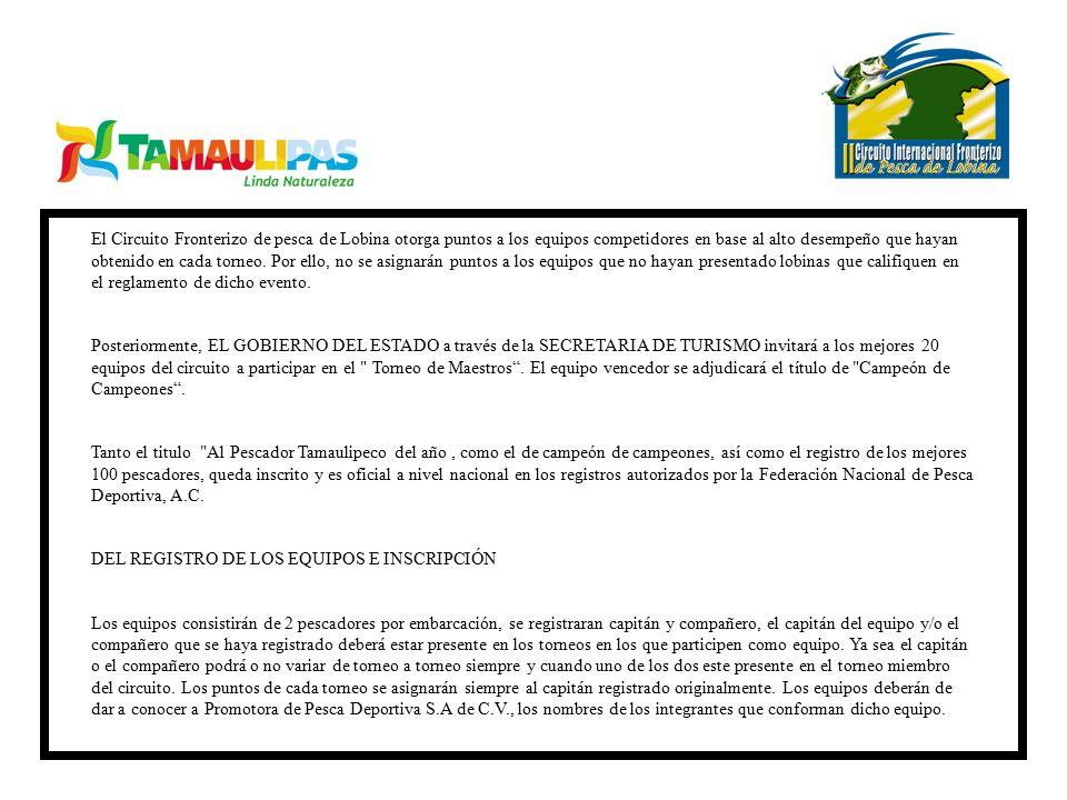 El Circuito Fronterizo de pesca de Lobina otorga puntos a los equipos competidores en base al alto desempeño que hayan obtenido en cada torneo. Por ello, no se asignarán puntos a los equipos que no hayan presentado lobinas que califiquen en el reglamento de dicho evento.