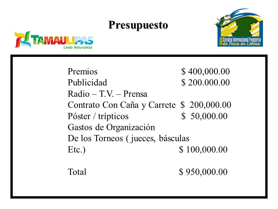 Presupuesto Premios $ 400,000.00 Publicidad $ 200.000.00