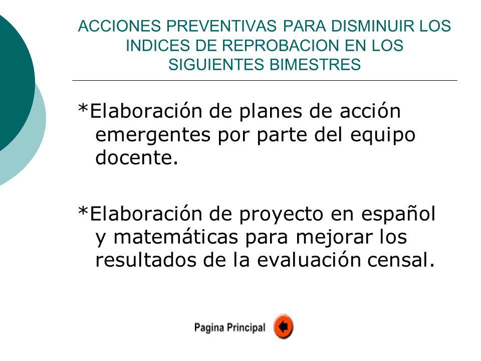 ACCIONES PREVENTIVAS PARA DISMINUIR LOS INDICES DE REPROBACION EN LOS SIGUIENTES BIMESTRES