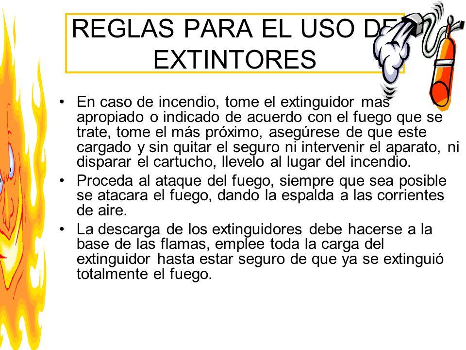 REGLAS PARA EL USO DE EXTINTORES