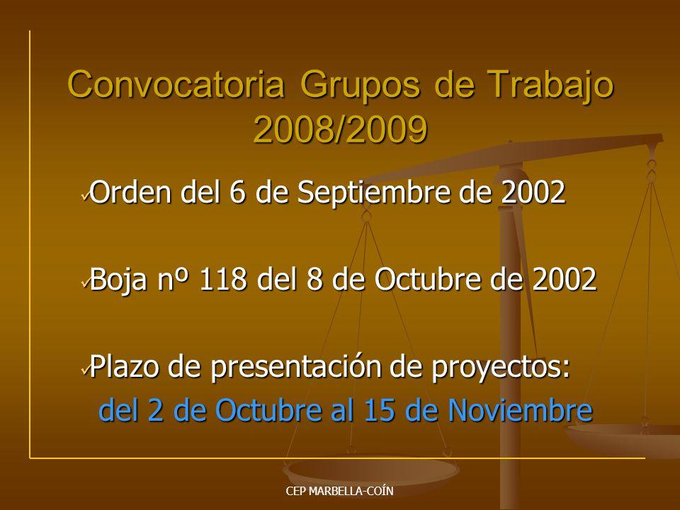Convocatoria Grupos de Trabajo 2008/2009