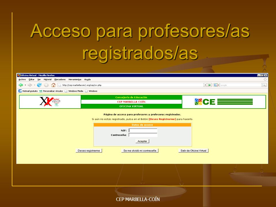 Acceso para profesores/as registrados/as