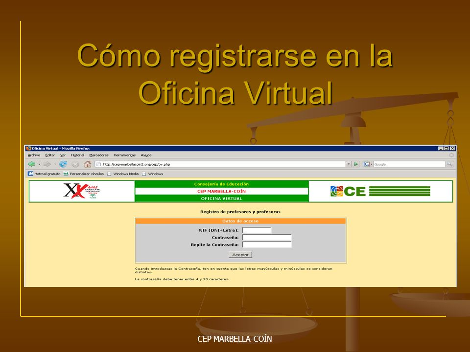 Cómo registrarse en la Oficina Virtual