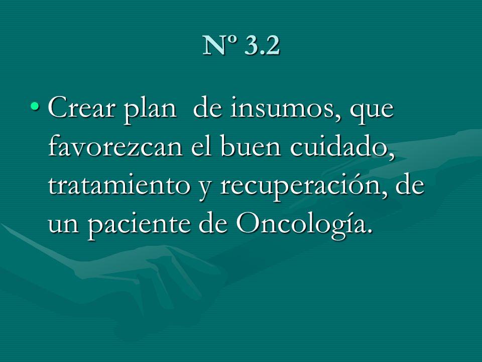 Nº 3.2Crear plan de insumos, que favorezcan el buen cuidado, tratamiento y recuperación, de un paciente de Oncología.