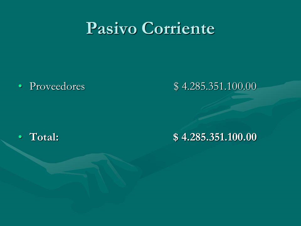 Pasivo Corriente Proveedores $ 4.285.351.100.00