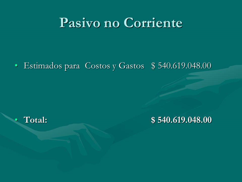 Pasivo no Corriente Estimados para Costos y Gastos $ 540.619.048.00
