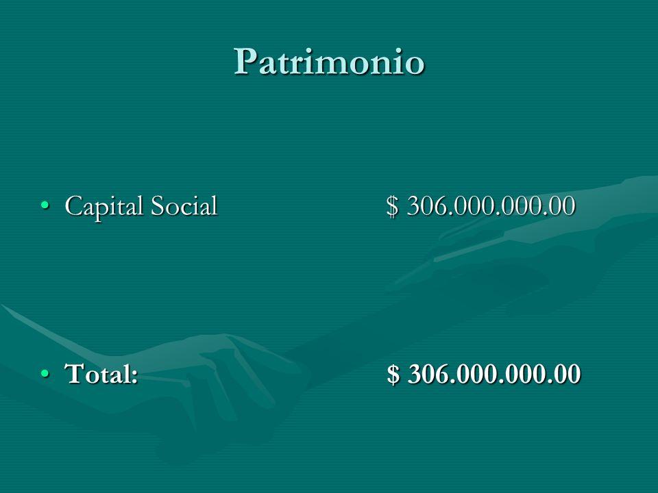 Patrimonio Capital Social $ 306.000.000.00.