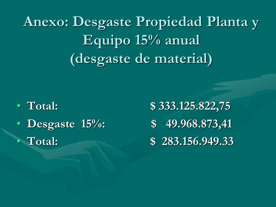 Anexo: Desgaste Propiedad Planta y Equipo 15% anual (desgaste de material)