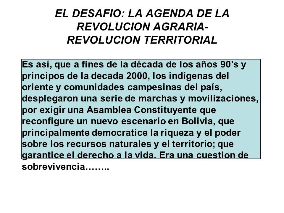 EL DESAFIO: LA AGENDA DE LA REVOLUCION AGRARIA- REVOLUCION TERRITORIAL