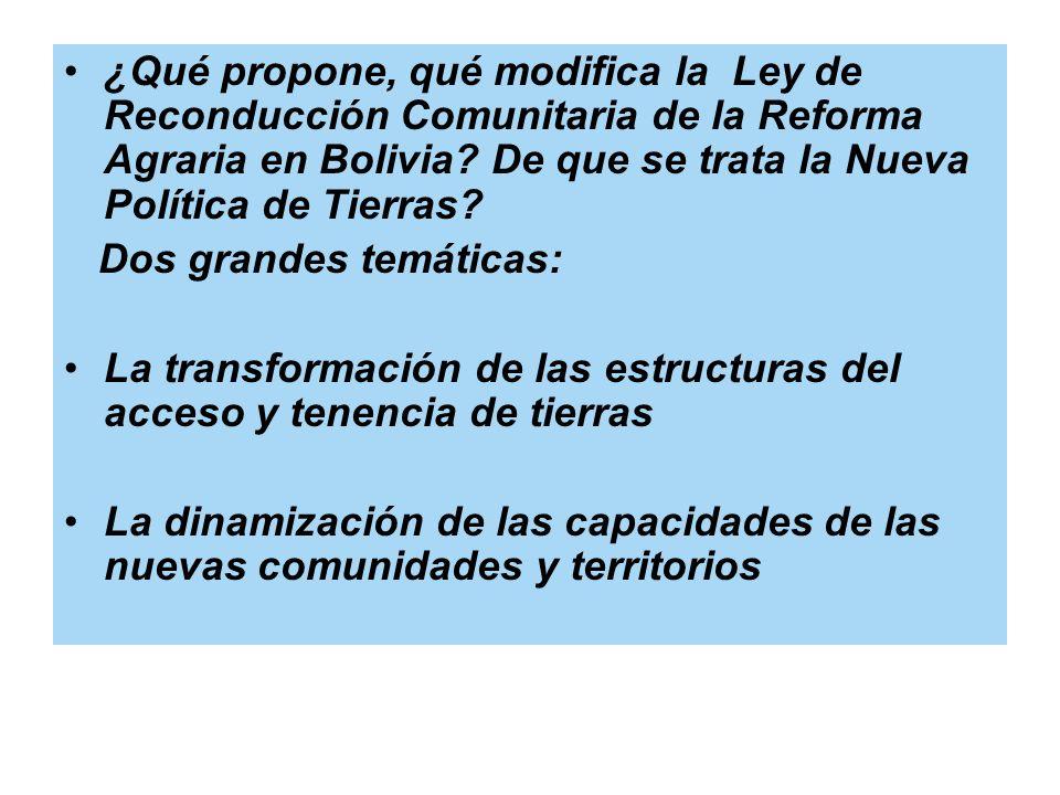 ¿Qué propone, qué modifica la Ley de Reconducción Comunitaria de la Reforma Agraria en Bolivia De que se trata la Nueva Política de Tierras
