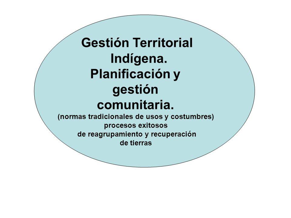 Gestión Territorial Indígena. Planificación y gestión comunitaria.