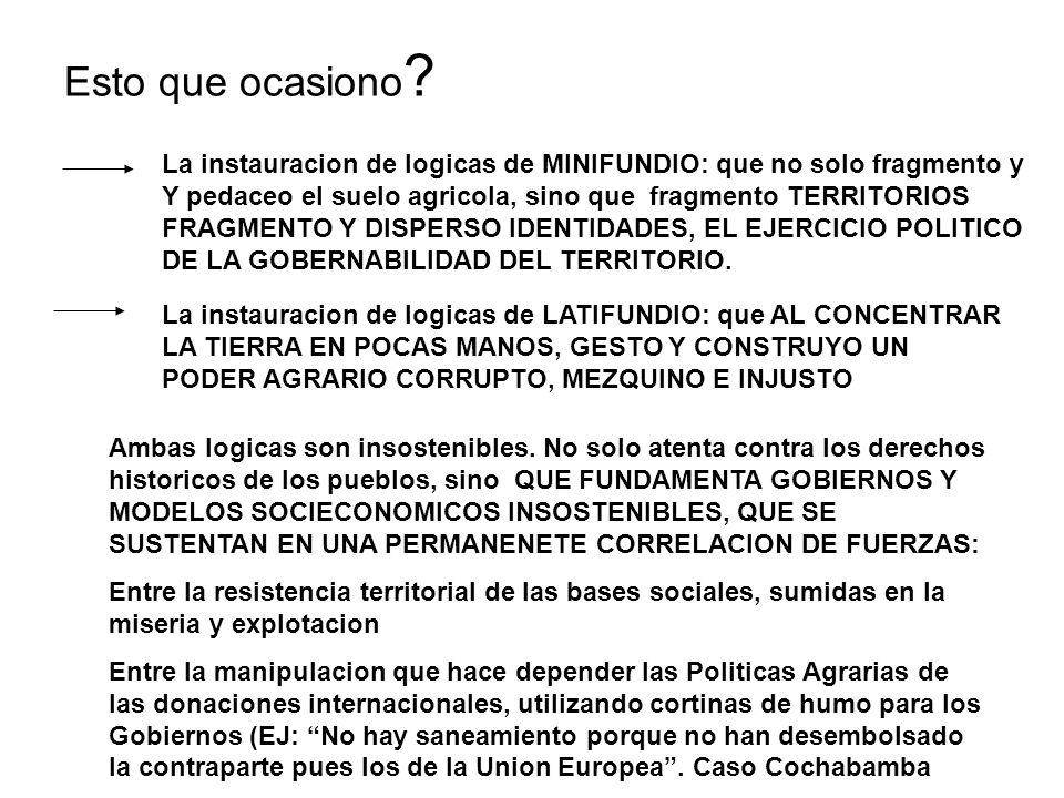 Esto que ocasiono La instauracion de logicas de MINIFUNDIO: que no solo fragmento y. Y pedaceo el suelo agricola, sino que fragmento TERRITORIOS.