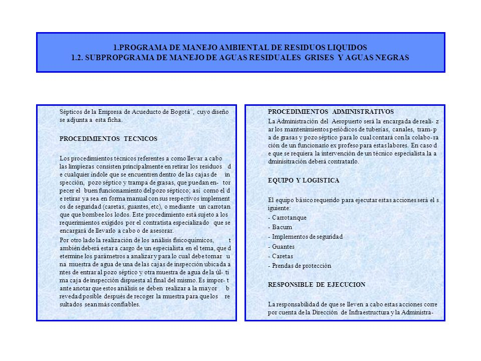 1. PROGRAMA DE MANEJO AMBIENTAL DE RESIDUOS LIQUIDOS 1. 2