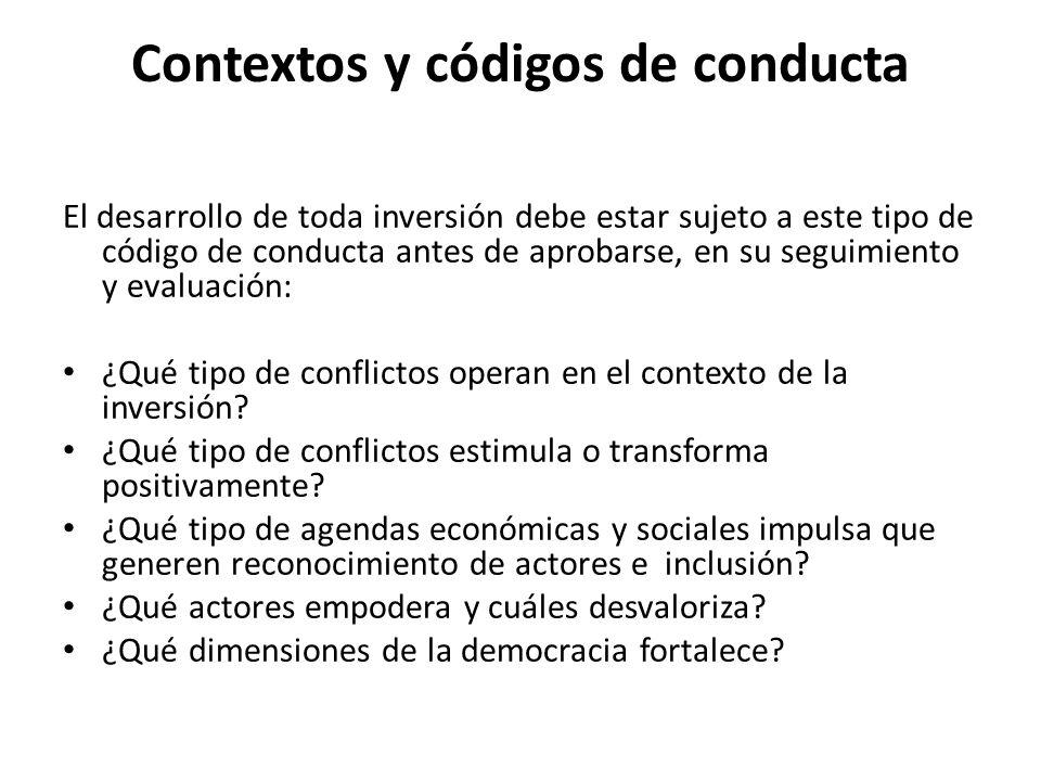 Contextos y códigos de conducta