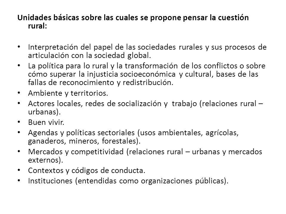 Unidades básicas sobre las cuales se propone pensar la cuestión rural: