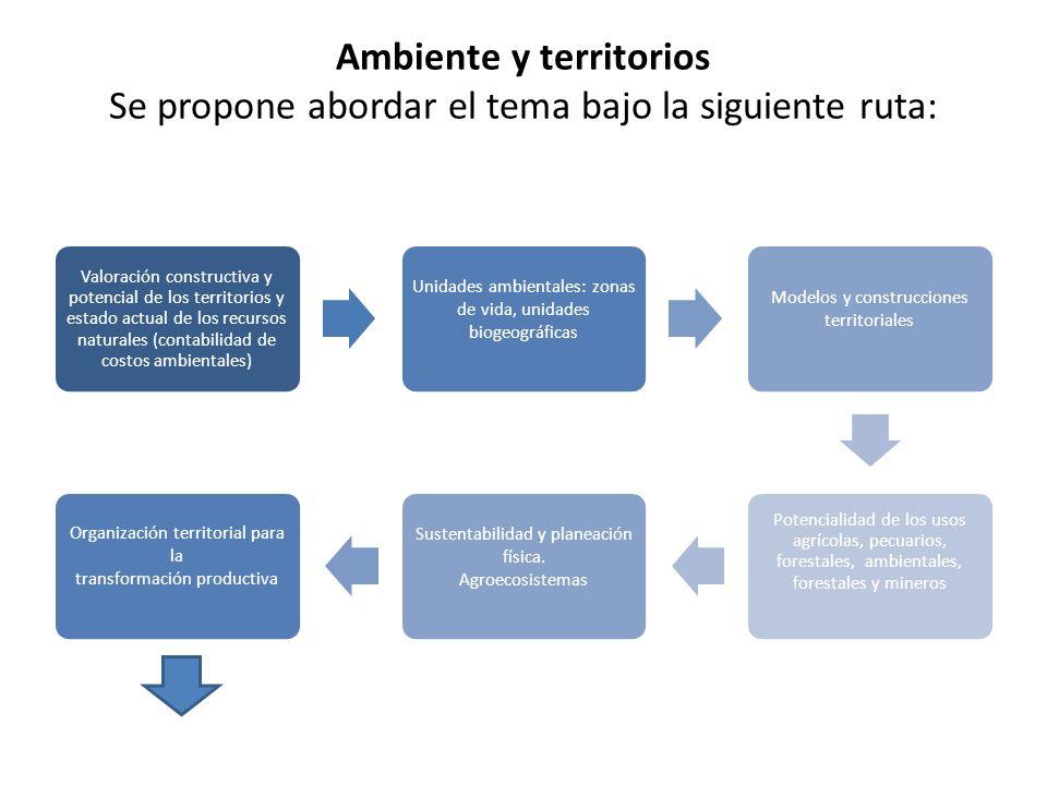 Ambiente y territorios Se propone abordar el tema bajo la siguiente ruta: