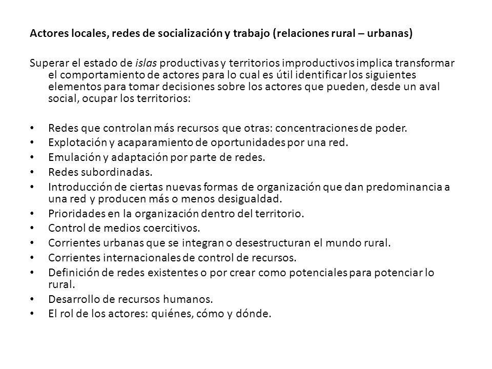 Actores locales, redes de socialización y trabajo (relaciones rural – urbanas)