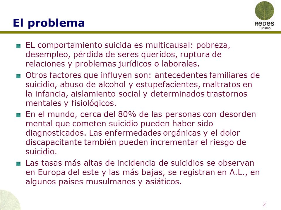 Antecedentes (OMS) Se suicidan más hombres que mujeres, aunque por lo general, los intentos de suicidio son más frecuentes en mujeres que en hombres.