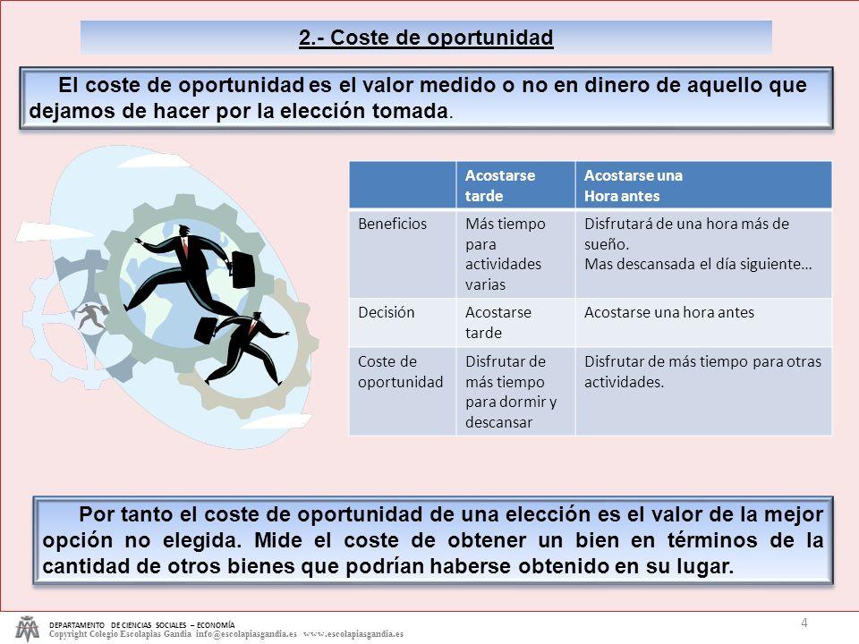 2.- Coste de oportunidad DEPARTAMENTO DE CIENCIAS SOCIALES – ECONOMÍA.