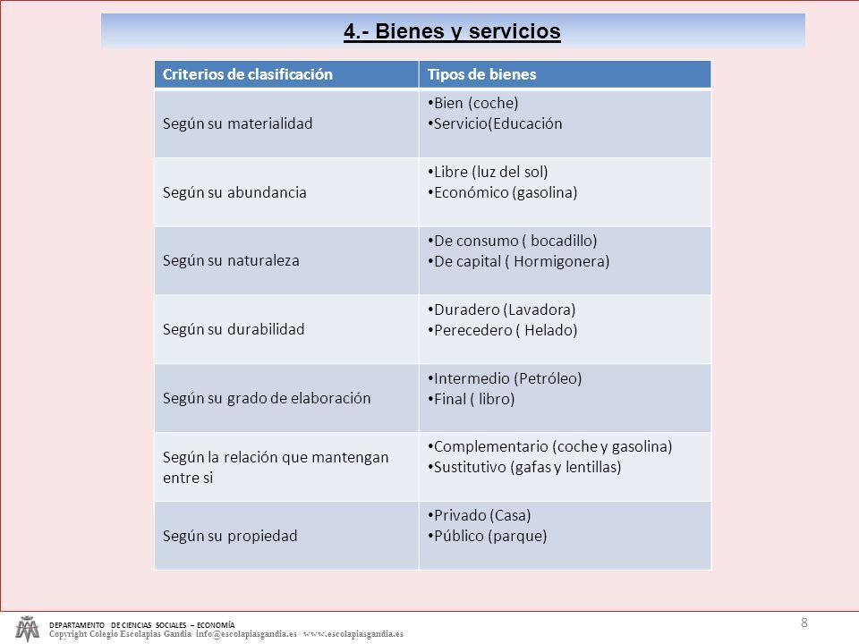 4.- Bienes y servicios Criterios de clasificación Tipos de bienes