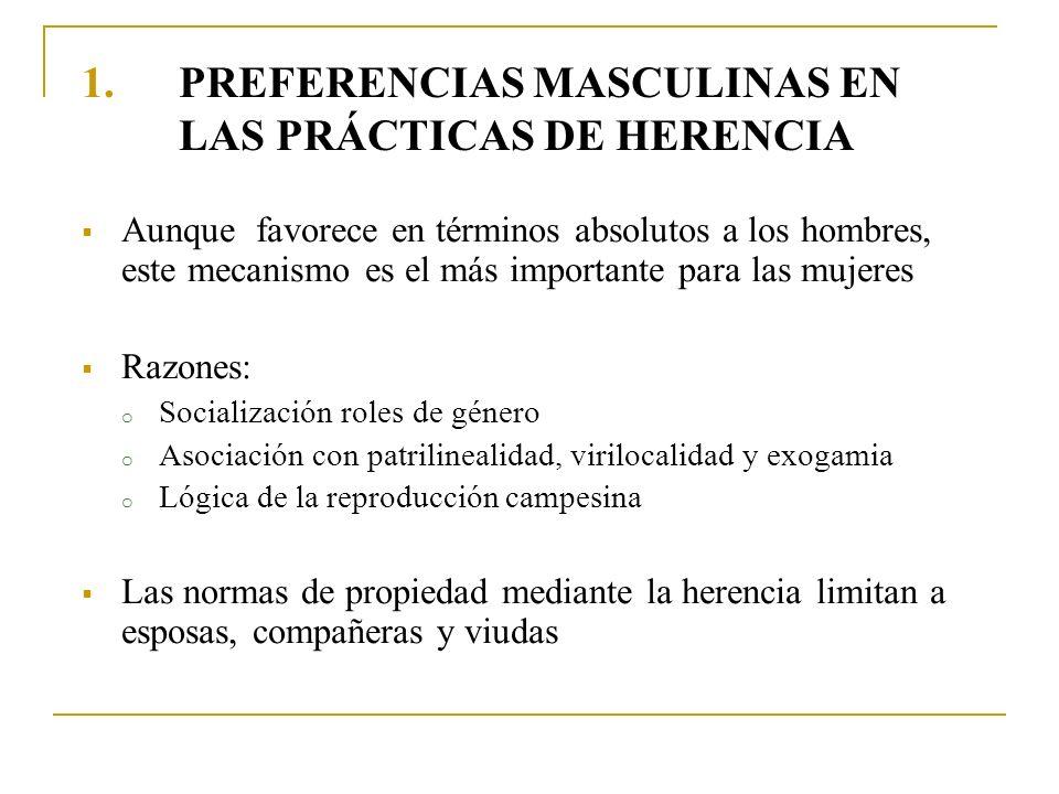 PREFERENCIAS MASCULINAS EN LAS PRÁCTICAS DE HERENCIA