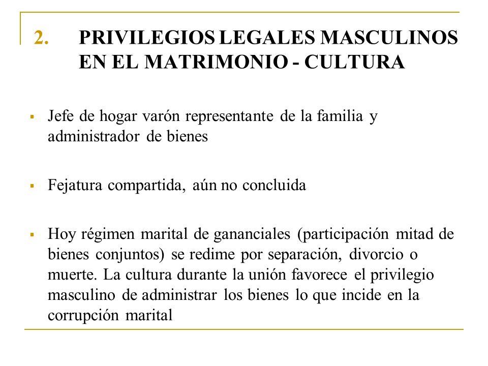 PRIVILEGIOS LEGALES MASCULINOS EN EL MATRIMONIO - CULTURA