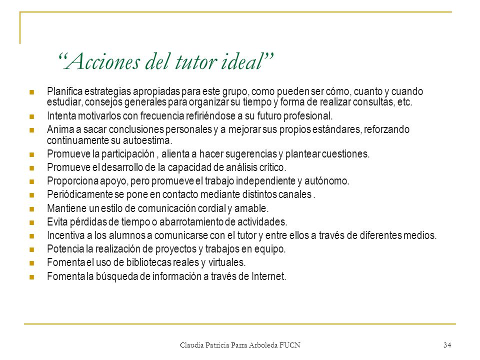 Acciones del tutor ideal