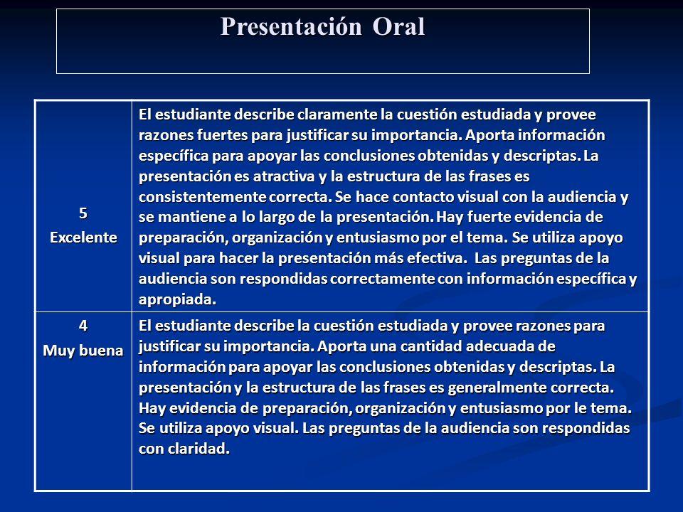Presentación Oral 5 Excelente