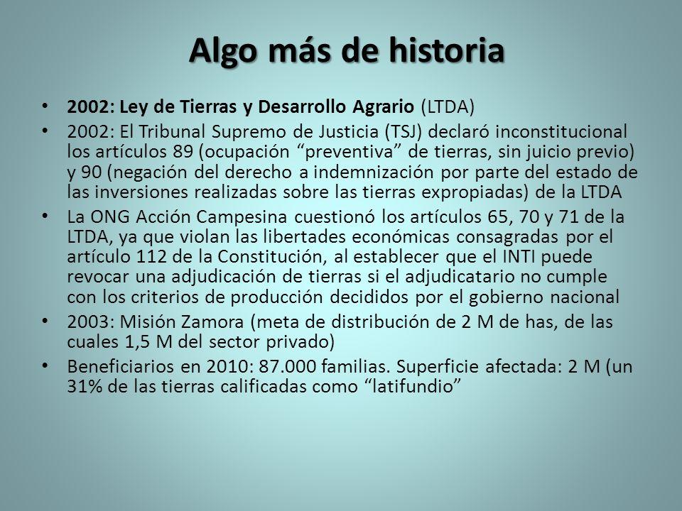 Algo más de historia 2002: Ley de Tierras y Desarrollo Agrario (LTDA)