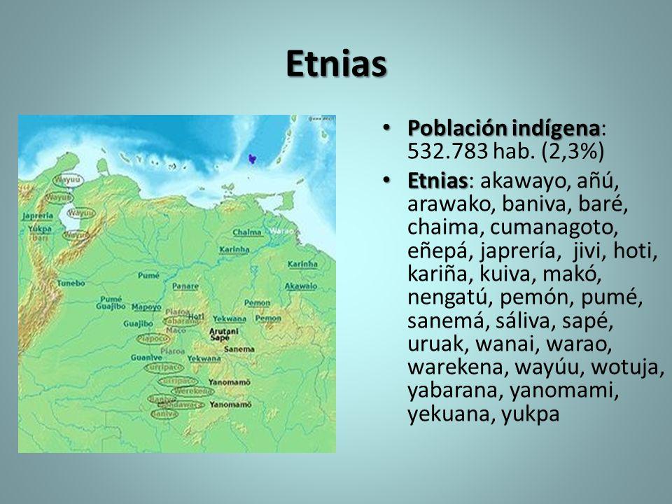 Etnias Población indígena: 532.783 hab. (2,3%)