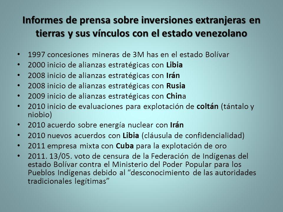 Informes de prensa sobre inversiones extranjeras en tierras y sus vínculos con el estado venezolano