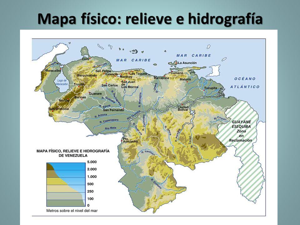 Mapa físico: relieve e hidrografía