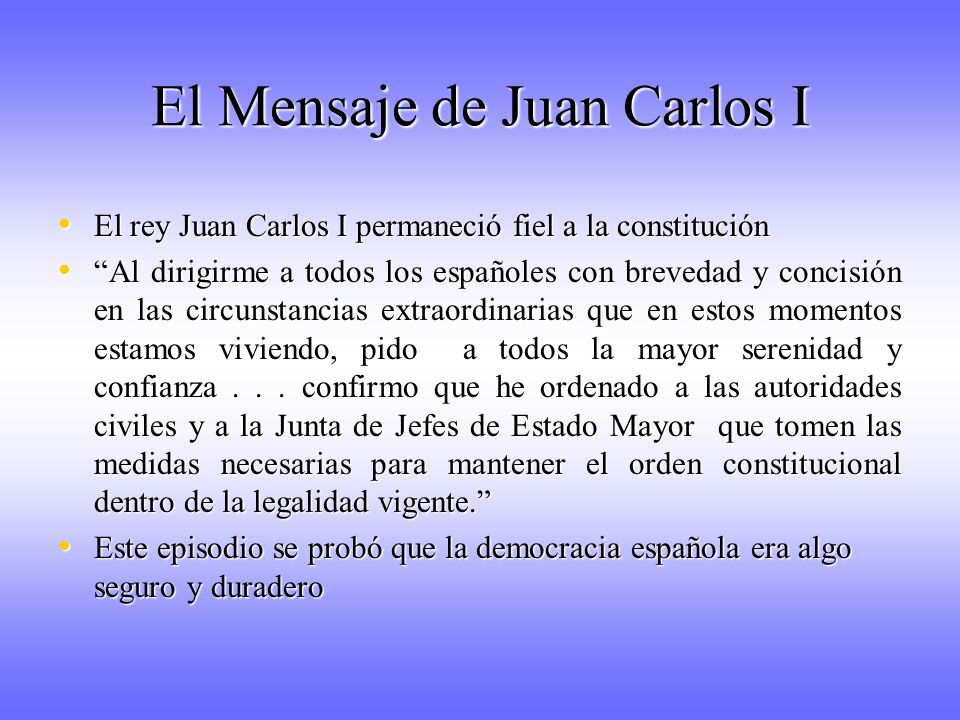 El Mensaje de Juan Carlos I