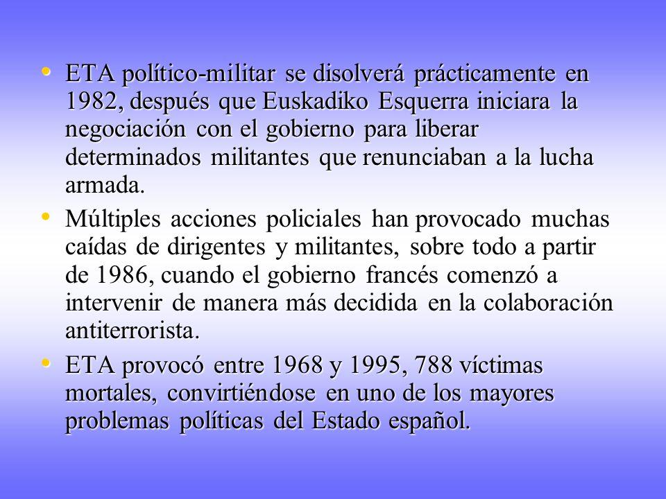 ETA político-militar se disolverá prácticamente en 1982, después que Euskadiko Esquerra iniciara la negociación con el gobierno para liberar determinados militantes que renunciaban a la lucha armada.