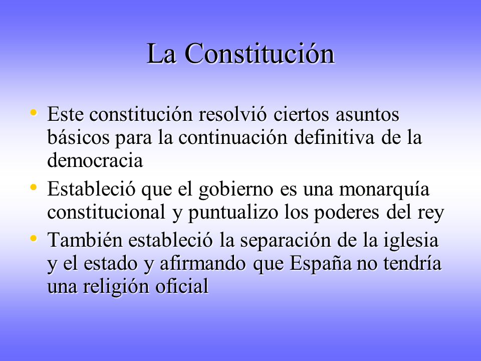 La Constitución Este constitución resolvió ciertos asuntos básicos para la continuación definitiva de la democracia.