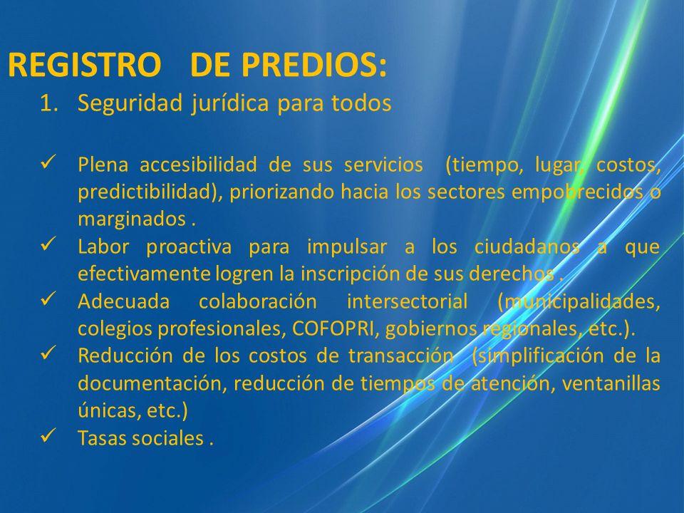 REGISTRO DE PREDIOS: Seguridad jurídica para todos