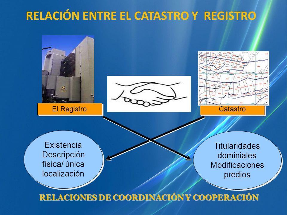 RELACIÓN ENTRE EL CATASTRO Y REGISTRO