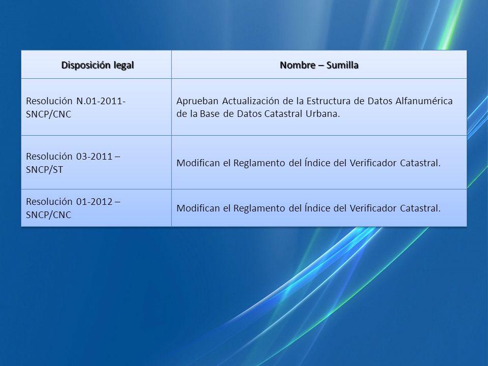 Disposición legalNombre – Sumilla. Resolución N.01-2011- SNCP/CNC.