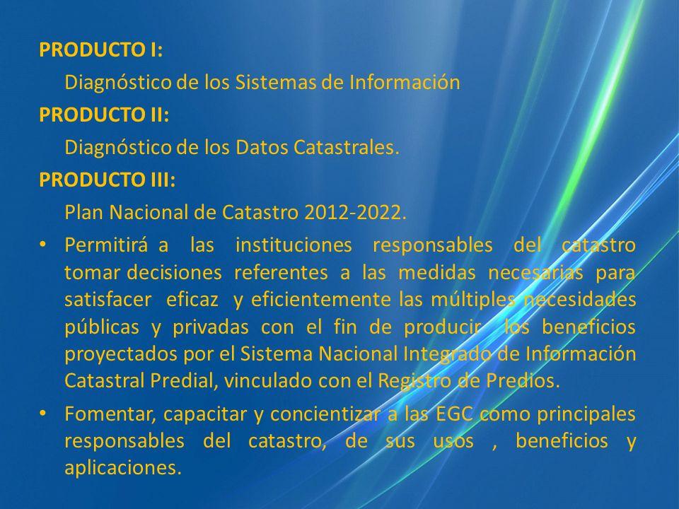 PRODUCTO I: Diagnóstico de los Sistemas de Información. PRODUCTO II: Diagnóstico de los Datos Catastrales.