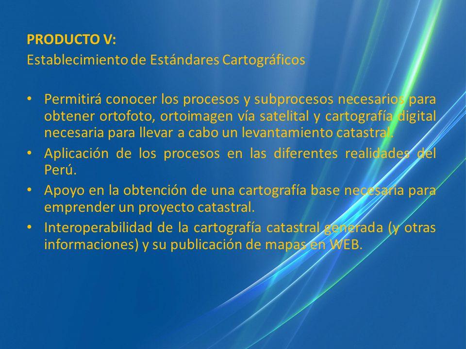 PRODUCTO V: Establecimiento de Estándares Cartográficos.