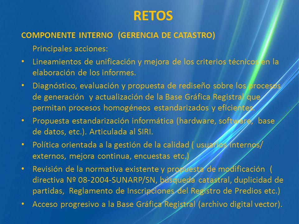 RETOS COMPONENTE INTERNO (GERENCIA DE CATASTRO) Principales acciones: