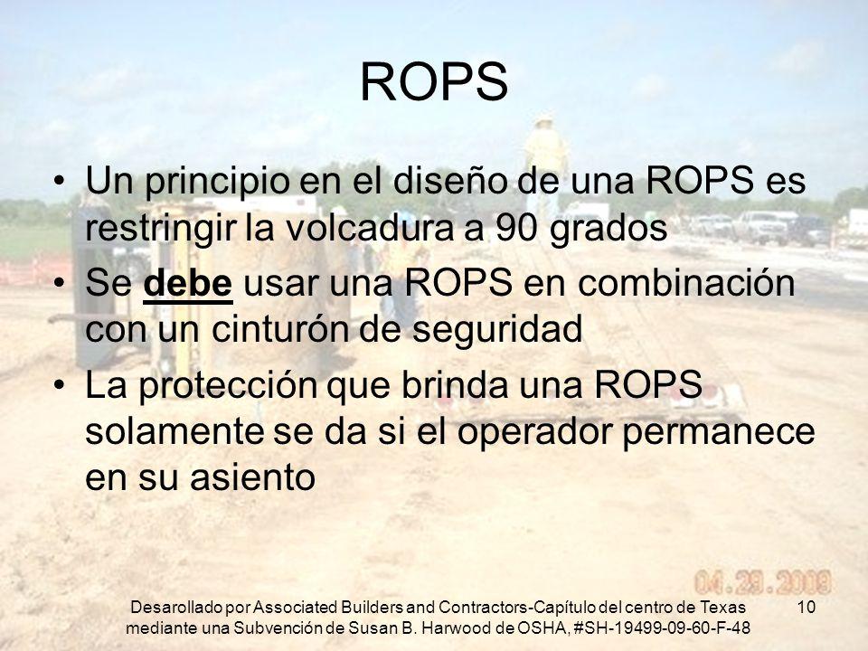 ROPS Un principio en el diseño de una ROPS es restringir la volcadura a 90 grados. Se debe usar una ROPS en combinación con un cinturón de seguridad.