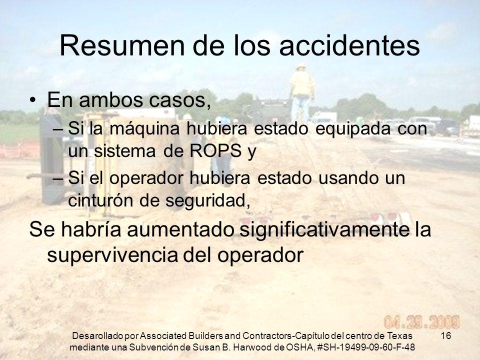 Resumen de los accidentes