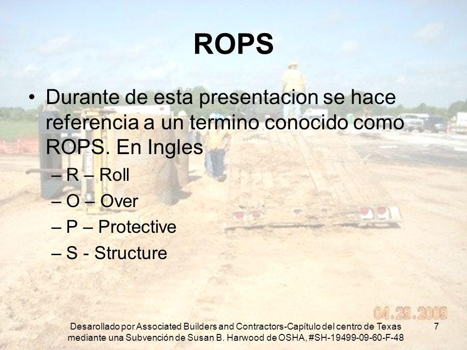 ROPS Durante de esta presentacion se hace referencia a un termino conocido como ROPS. En Ingles. R – Roll.